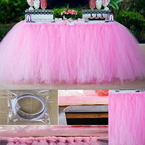 Tutu Falda de mesa de tul, falda de mantel apta para boda, fiesta, baño, cumpleaños, tarta, mesa para niñas, decoración de princesa, rosa, Tamaño libre