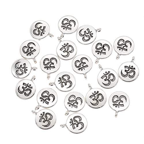 Hongma 20 Stück OM Yoga Schmuckanhänger Bastelanhänger Silber für Hals Armband DIY