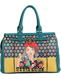 Nicole Lee Polka Dot [green] Print Overnighter Bag With Padded Laptop Compartment Travel Shoulder Bag