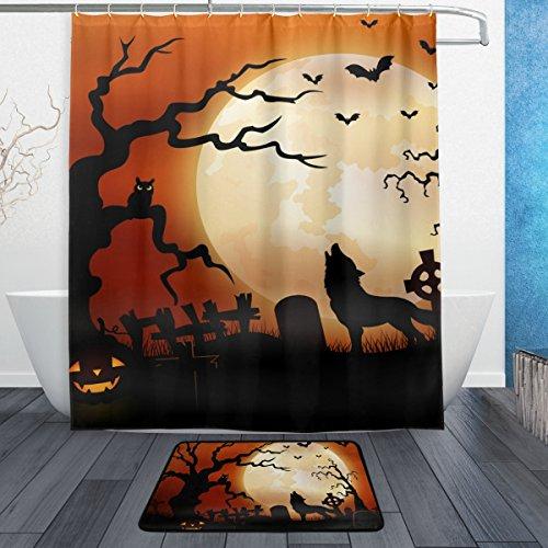 jstel Halloween Wolf Night Kürbisse Eule Mond 3-teiliges Badezimmer Set, maschinenwaschbar für den täglichen Gebrauch, inkl. 152,4x 182,9cm Wasserdicht Duschvorhang, 12Dusche Haken und 1rutschfeste Badezimmer Teppich C (Sets Halloween-badezimmer)