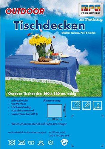 Hochwertige wetterfeste waschbare Tischdecke von MFG, 160 x 130 cm in beige geschäumt