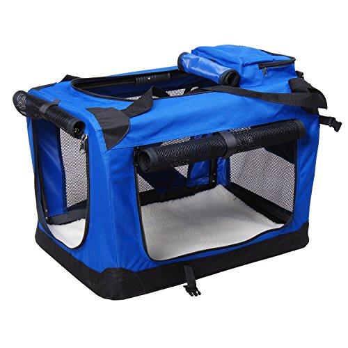 Bolsa de Transporte Perros Gatos Mascotas Viaje Tubo de Acero 4 Entradas, Medidas 70 x 52 x 52 cm, Color Azul/Negro,Pawhut