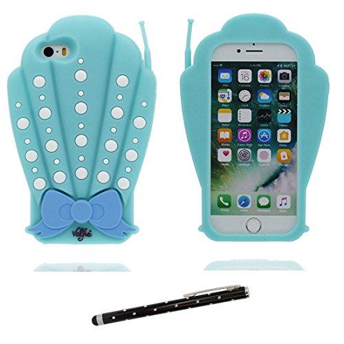 Coque iPhone 5, iPhone 5S Case TPU 3D Cartoon Coquillages nœud papillon Skin Cover iPhone SE 5G C Étui, Shell souple durable anti-chocs et stylet bleu