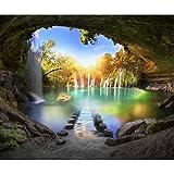 decomonkey Fototapete selbstklebend Wasserfall Landschaft 294x210 cm XL Selbstklebende Tapeten Wand Fototapeten Tapete Wandtapete klebend Klebefolie Wald Sonne Himmel Wasser grün