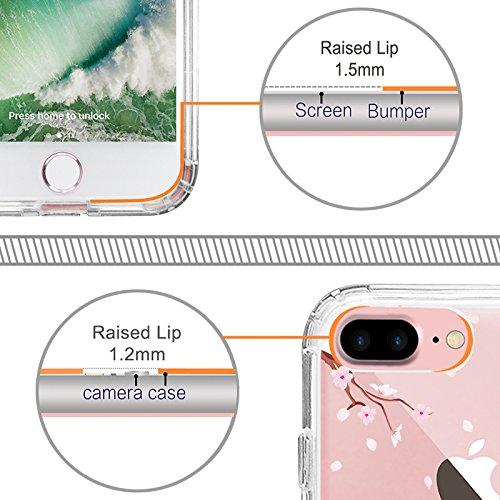 iPhone 8 Plus Hülle, iPhone 7 Plus Hülle, MOSNOVO Tropisch Kaktus Muster TPU Bumper mit Hart Plastik Hülle Durchsichtig Schutzhülle Transparent für iPhone 7 Plus / iPhone 8 Plus (Kaktus) Sakura Flowers Blossom
