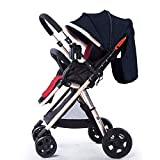 Maniglia passeggino per paesaggio alta Maniglia per neonati reversibili Buggy Può sedersi e sdraiarsi Pieghevole portatile pieghevole per bambini Carrello Carrello dorato (Colore: lino nero)