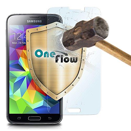 Screen Protector S5 Galaxy Glass (OneFlow 9H Panzerfolie für Samsung Galaxy S5 Panzerglas Display Glasfolie [Tempered Glass] Screen protector Glas Displayschutz-Folie für Samsung Galaxy S5 / S5 Neo Schutzfolie)