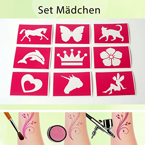 Tattoo Schablonen Set Mädchen (9 Stück) Selbstklebend Kinderschminken Airbrush (Schmetterling Kinderschminken Einfach)