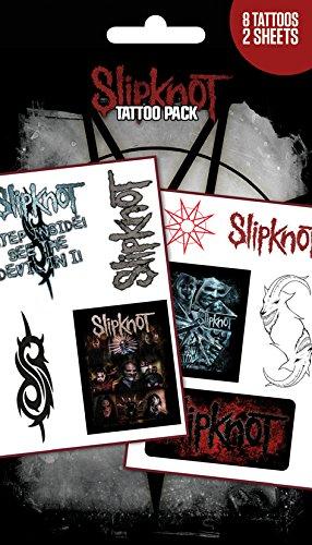 (GB Eye Slipknot Band und Logos temporäre Tattoo Pack, Mehrfarbig)