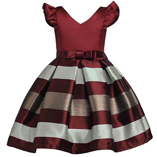 YuanDian Bambine Senza Maniche Principessa Abiti Eleganti Bambina Partito Compleanno Comunione Swing Vestiti Da Cerimonia 3-10 Anni Vino Rosso 150#