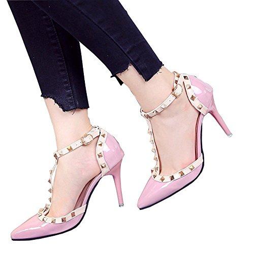 GAIHU Schuhe 9 cm Rosa Spitzen Schuhe mit hohen Absätzen, Nieten ausgehöhlten Schnalle Rot, flach Mund