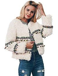 Chicas de moda fuera de la chaqueta streetwear cálido elegante, Sonnena ❤️ Abrigo de lana artificial para mujer Chaqueta borla Moda de invierno Prendas de abrigo