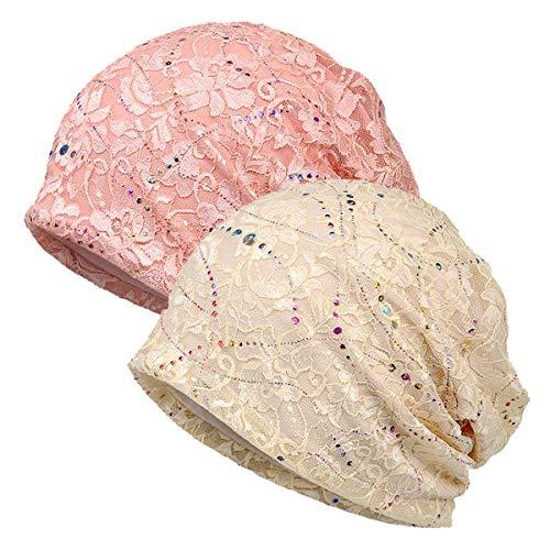 WELROG Chemo Hut Frau Hut Spitzen Kopftuch Super Weich Slouchy Turban Kopfbedeckungen Kopf Wraps (Beige/Rosa) -