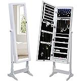 Songmics Schmuckschrank Spiegelschrank abschließbar mit LED Beleuchtung 154 cm hoch JBC94W