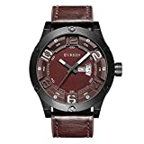 2017nueva banda de marrón de piel auténtica Curren reloj de pulsera de cuarzo para hombre relojes primera marca black8251
