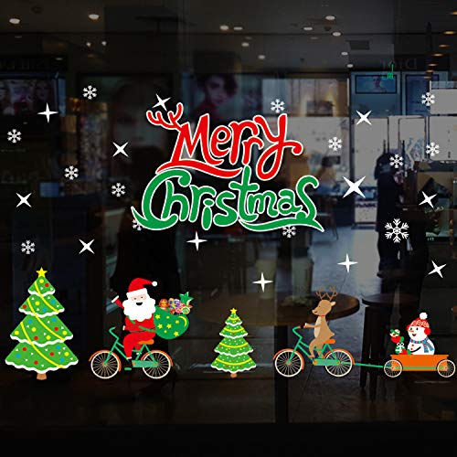 Santa and Snowman Window Clings Decal Christmas Stickers Winter Wonderland Decorations Ornaments Party Supplies (Multiple styles)
