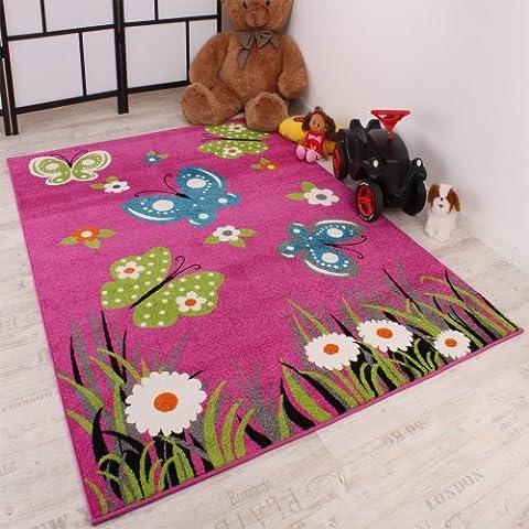 Alfombra Infantil Butterfly - Diseño De Mariposas - Rosa Verde Turquesa, Grösse:160x220 cm