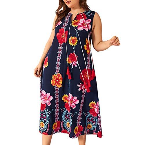 mat Kleid Plus Size Womens Bohe Floral Print ärmelloses Kleid mit V-Ausschnitt Ladies Sundress Lose Bequem Täglich Freizeit Kleiden(Blau,XXXXL) ()