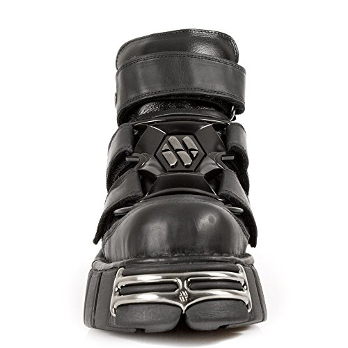 Black New Rock Schuhe mit 3 Velcros und Tower-Sole mit Metall-Armaturen aus der New Rock Tower Collection