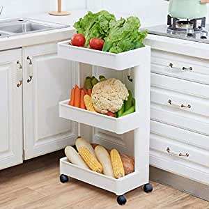 House of Quirk 3 Tier Storage Wheel Trolley Plastic Bathroom and Kitchen Storage Trolly Rack (White) (45cm × 26cm × 69cm)