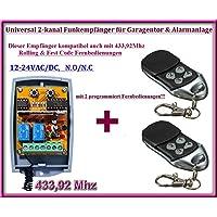 Universal de 2canales Rolling Code Receptor de radio + 2handsender, a Alimentar cada garaje Automatización/alarma/algunos otros dispositivos 12–24V DC, 433.92MHz No/NC