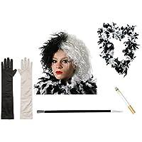 Ilovefancydress - Disfraz de Cruella de Vil (peluca, guantes, boa de plumas, soporte para cigarrillos y cigarrillo)