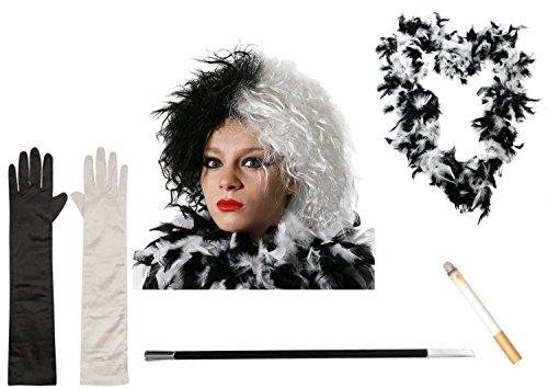 ILOVEFANCYDRESS Déguisement de Cruella d'Enfer - Idéal pour Halloween - Inclus: perruque, gants, boa en plumes, porte-cigarette et cigarette