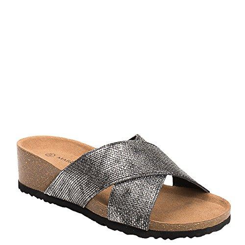 Ideal Shoes - Mules compensées nacrées effet reptile Feliana Noir