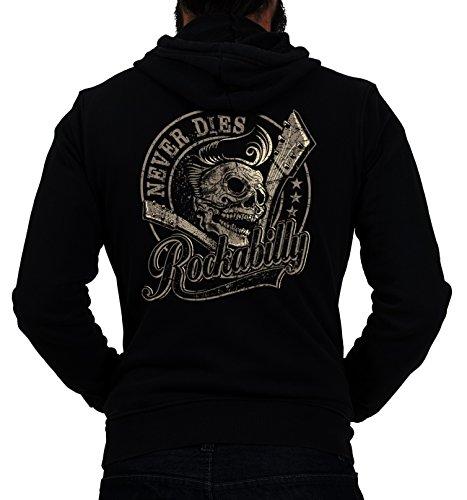 GASOLINE BANDIT® Design - Rockabilly Biker Racer Kapuzen-Jacke Zip-Hoodie: Rockabilly never dies!-L (Hoodie Biker Zip)
