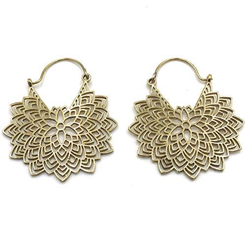 Xelibri goldfarbene Lotus Boho-Ohrringe in Creolen Form und Ethno Look (Gold Ohrringe Aus Indien)