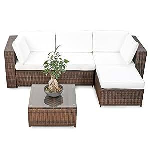 Amazon.de: XINRO® erweiterbares 15tlg. Balkon Polyrattan Lounge Ecke ...