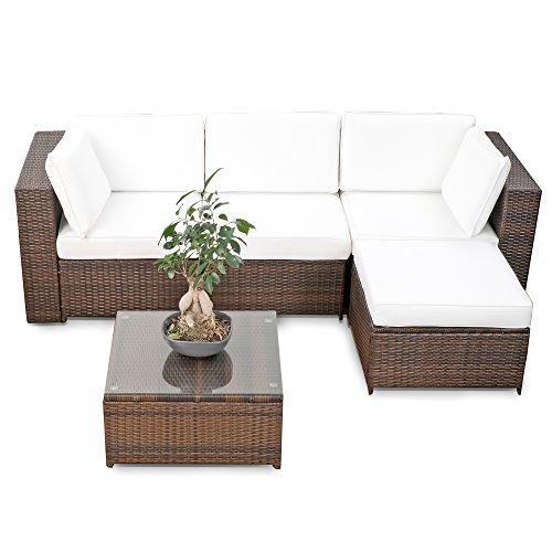 erweiterbares 15tlg. Balkon Polyrattan Lounge Ecke - braun - Sitzgruppe Garnitur Gartenmöbel Lounge Möbel Set aus Polyrattan - inkl. Lounge Sessel + Ecke + Hocker + Tisch + Kissen