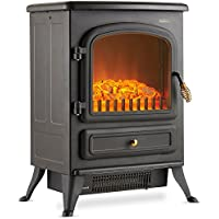 VonHaus Electric Stove Heater with Log Burner Flame Effect – 1850W, Black – Freestanding Fireplace with Wood Burning LED Light