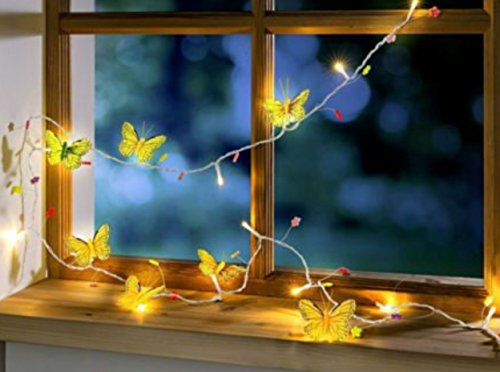 LED Lichterkette Girlande mit Schmetterlingen und Blumen 20 LED´s 2,5 m lang + Zuleitung Frühling Sommer Ostern Osterdeko Dekoration