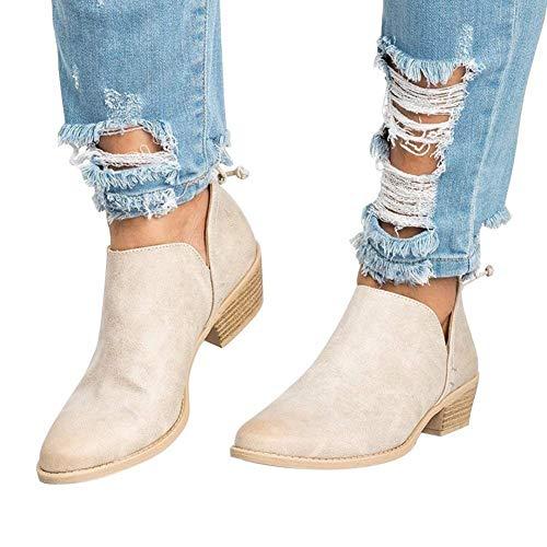 Botines Mujer Tacon Medio Planos Invierno Tacon Ancho Piel Botas Botita Moda 3cm Casual Planas Zapatos Ankle Boots Caqui Rosa Beige Negros 35-43 BG41