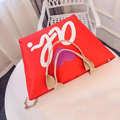 BZLine® Frauen Nylon einkaufen Schulter Handtasche Tote Shopper Tasche, 50cm *33cm *17cm Orange