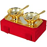 Jaipur Ace Premium Gifts Silver And Gold Plated Brass Bowl 5 Pcs Set (Absg00015)
