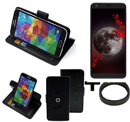 K-S-Trade® Hülle Schutzhülle Case für Sharp Aquos B10 + Bumper Handyhülle Flipcase Smartphone Cover Handy Schutz Tasche Walletcase schwarz (1x)