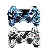 [2er-Pack] Fernbedienung Bluetooth Controller für Playstation 3, kabellos, Sixaxis Doppel-Vibration Gamepad für PS3 (inkl. USB-Ladekabel) Mehrfarbig White+Light Blue