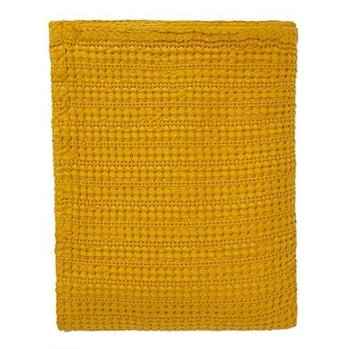 URBANARA 240x265 cm Tagesdecke/Plaid Anadia Senfgelb — 100% Reine Baumwolle — Ideal als...