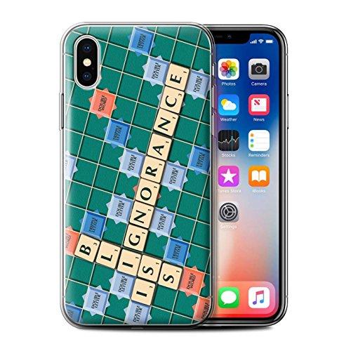 Stuff4 Gel TPU Hülle / Case für Apple iPhone X/10 / Kennen Muster / Scrabble Worte Kollektion Ignoranz Glück