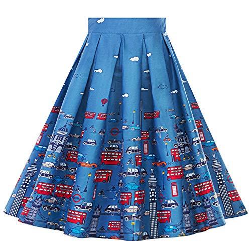 Weihnachten Kleid Piebo Damen Retro A-Linie Plissee Vintage -