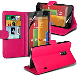 FONE-CASE MOTOROLA MOTO G PU Leather Luxury Stand Wallet Case Cover Pouch Holster With Screen Protector Hot Pink