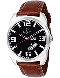Lugano LG 1112 Exquisite & Royal Black Dial Day & Date Watch - For Men