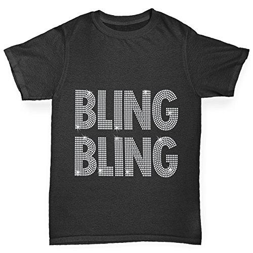 TWISTED ENVY Mädchen T-Shirt Bling Bling Rhinestone Diamante Stass Age 12-14 Schwarz