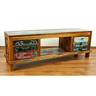 livasia Java Sideboard aus recyceltem Teakholz | TV-Bank aus Buntem Massivholz | Asia Möbel | Phonoschrank | HiFi-Möbel der Marke Asia Wohnstudio (Handarbeit)