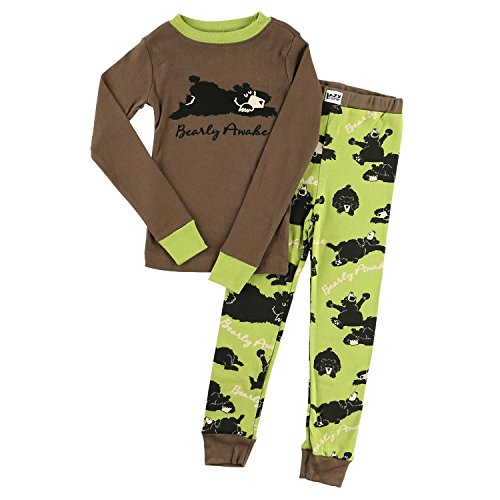Lazy One Boys Bearly Awake Kids PJ Set Long Sleeves