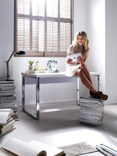 Robas Lund, Schreibtisch, Computertisch, Sydney III, Hochglanz/weiß/verchromt, 140 x 70 x 76 cm,  40121CW2 - 4