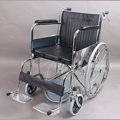 PAP Faltbarer Tragbarer Älterer Rollstuhl und Behinderter Handbremsensitz Rollstuhl-Rollstuhl, Fahren Medizinischer Erwachsener Medizinischer Versorgungsmaterialien Ohne Aufblasbares Wc, schwarz,