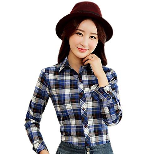 ACVIP Femme/Fille Chemise aux Carreaux Blouse Casual avec Boutons Manche Longue Couleur 5